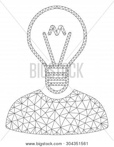 poster of Mesh Bulb Inventor Polygonal Icon Vector Illustration. Abstraction Is Based On Bulb Inventor Flat Ic