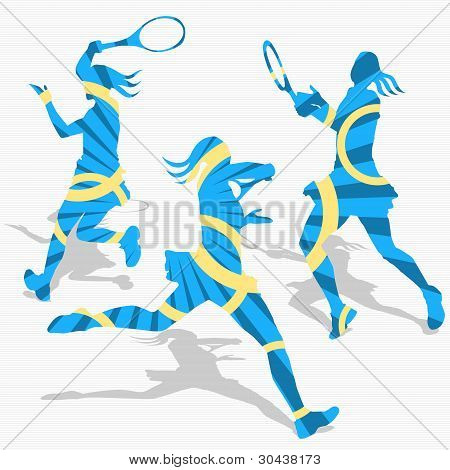 Women's Tennis Sport Silhouettes