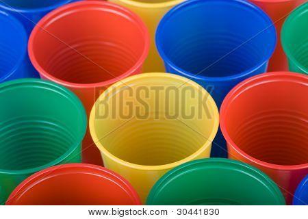 Multi coloured disposable plastic cups