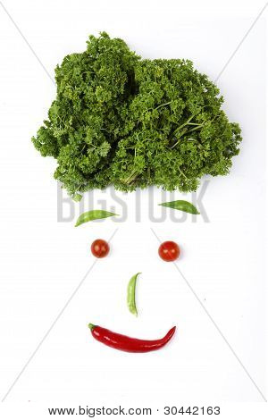 Face Made Out Of Different Vegetables