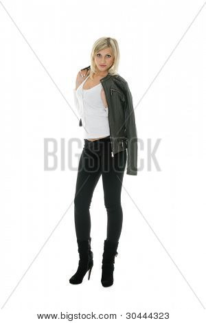 Beautiful girl in leather jacket and jeans.