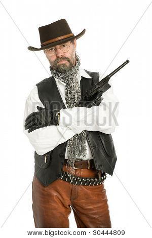 Middle aged man dressed as a retro style.