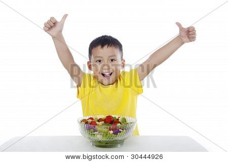 Happy Child With Fresh Salad
