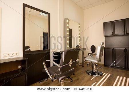Cabinet make-up artist and hairdresser. Modern design.