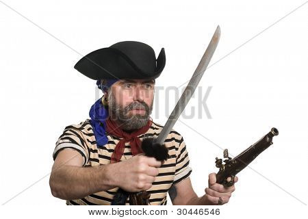 Terrible pirate tricorn hat with a musket and sword.
