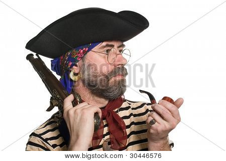 Pirate with a pipe and a musket. Isolated on white.  Isolated on white.