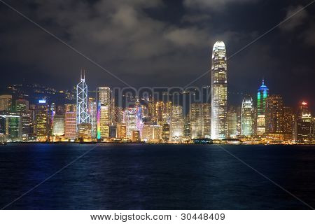 Hong Kong Skyline bei Nacht. September 2011.