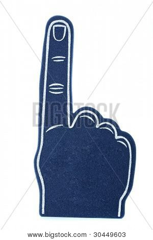 A blue foam finger for sports events signifying