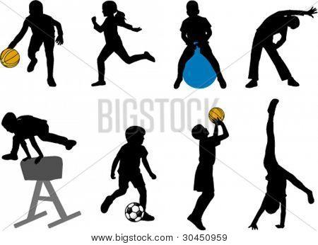 crianças desporto silhuetas