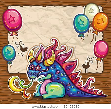 Dragon holiday card. Vector greeting card, banner, framework with cute little, fantasy dragon. Old paper, space for your text