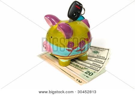 Colored Piggy Bank With Key For Auto.