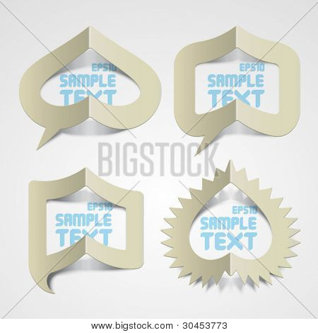 Vector Folded Paper Speech Bubbles with Your Message