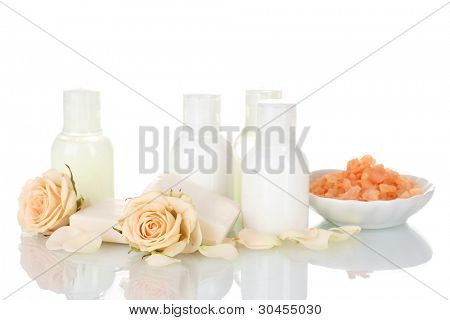 Hotel amenities kit on white background