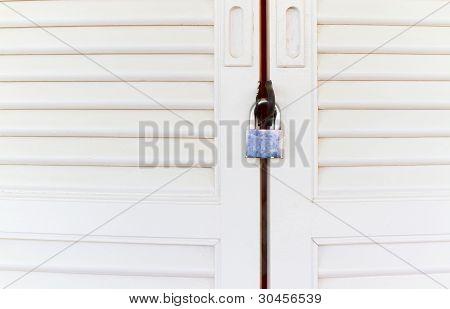 wooden white door