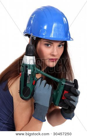 Pretty girl with screwdriver