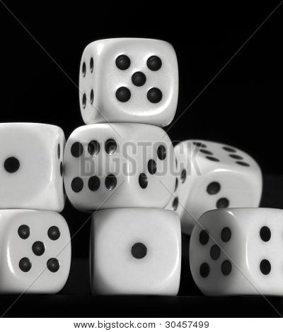 White Dice In Black Back