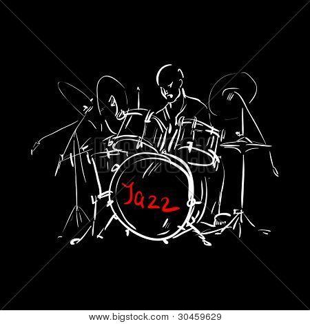 Sketch. Drummer. Jpeg version.