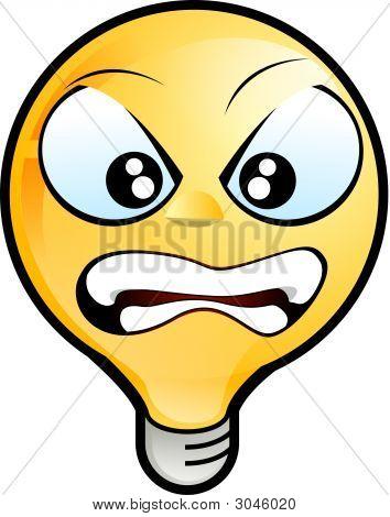 Lighting Bulb Icon - Angry