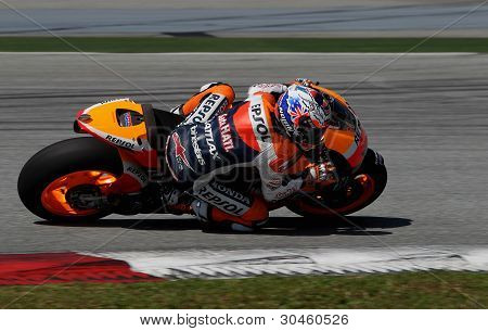 MotoGP rider Casey Stoner of Repsol Honda Team practices at Sepang, Malaysia.