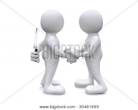 3D Human shaking hands with murderous intent