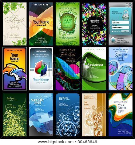 variedad de 15 tarjetas verticales
