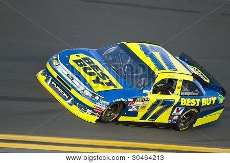 DAYTONA BEACH, FL - FEB 23:  Matt Kenseth (17) holds off the rest of the field to win the Gatorade Duel 2 race at the Daytona International Speedway in Daytona Beach, FL on Feb 23, 2012.
