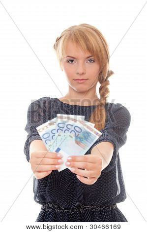 Young Woman Holding Money In His Outstretched Hands