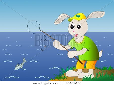 Hare fishing, fish is left