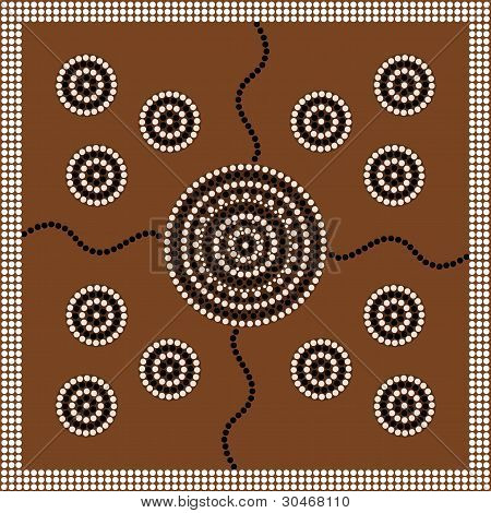 Aboriginal Style Of Dot Painting Depicting Circle.