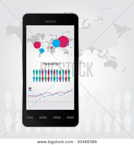 Mobile infographic. Set of graphs and chats. Vector illustration
