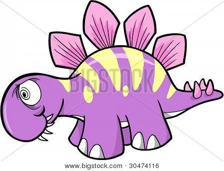 Crazy Insane Stegosaurus Dinosaur Vector Illustration