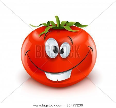 smiling red ripe tomato red ripe tomato vector illustration isolated on white background gradient mesh used