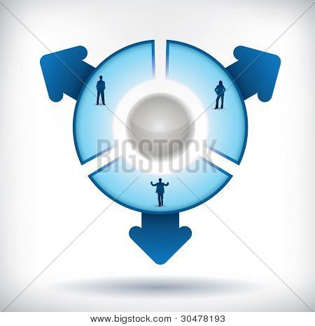 Segmented Presentation template with three parts, people silhouettes and arrows