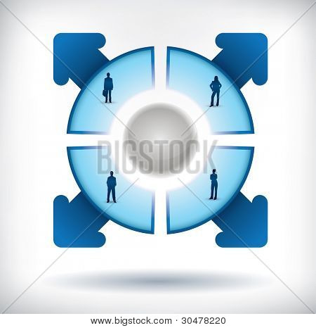 Segmented Presentation template with four parts, people silhouettes and arrows