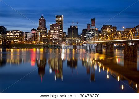 Portland Downtown City Skyline At Twilight
