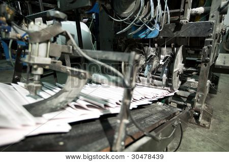 ready newspaper on production line