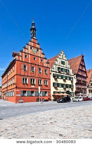 Famous Old Romantic Medieval Town Of Dinkelsbuehl In Bavaria, Germay.