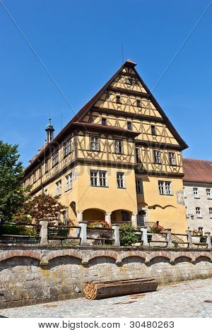 Historic Half-timbered House In Romantic Medieval Town Of Dinkelsbuehl