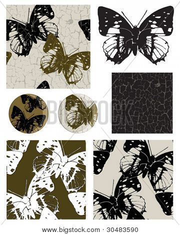 Contemporary Vector Butterfly repeat seamless patterns and icons.  Use to create striking items such as cushion covers, linen or paper craft projects.