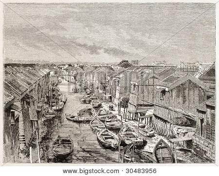 Channel in Yedo (Tokyo) old view. Created by Therond after photo by unknown author, published on Le Tour Du Monde, Ed. Hachette, Paris, 1867