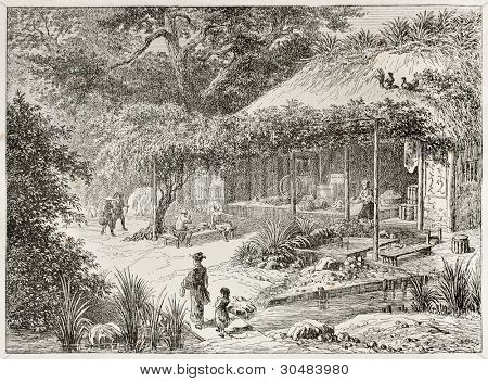 Japanese tea house in Yedo (Tokyo) surroundings. Created by Lancelot after Japanese engraving by unknown author, published on Le Tour Du Monde, Ed. Hachette, Paris, 1867