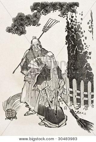 Old Japanese illustration depicting Baucis and Philemon. By unidentified author, published on Le Tour Du Monde, Ed. Hachette, Paris, 1867