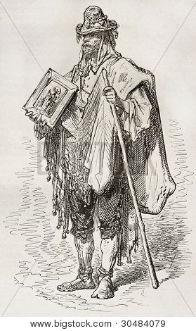Santero old engraved portrait (Andalusian beggar). Created by Gustave Dore, published on Le Tour Du Monde, Ed. Hachette, Paris, 1867