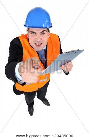angry construction businessman pointing at you