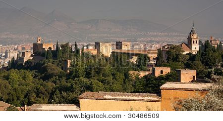 The Alhambra Seen From Behind Looking Out To Granada