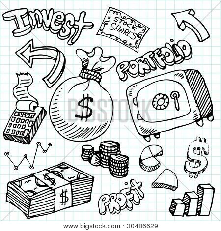 An image of a financial symbol doodle set.