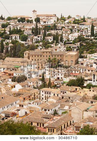 Albaicin Of Granada Seen From The Alhambra Palace