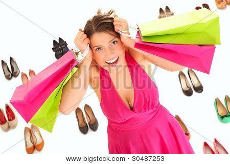 ein Bild von einem pretty young Woman shopping over white Background für Schuhe