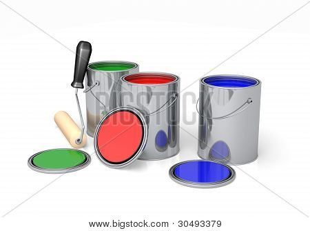 Paint Cans With Roller