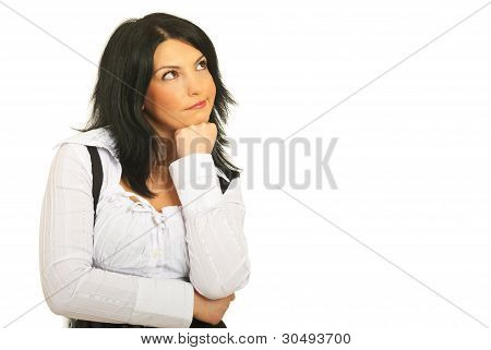 Confused Pensive Woman Looking Up